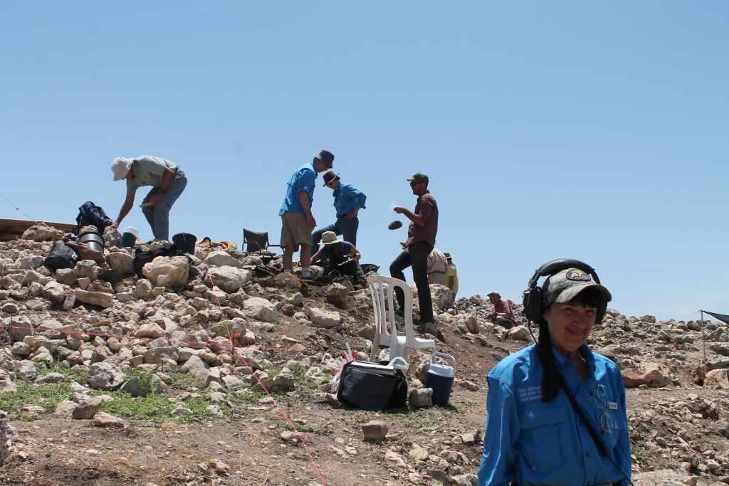 El detector de metales de Ellen Jackson ayudó al equipo de ABR a encontrar unas 250 monedas durante las excavaciones de verano de 2017 en Shiloh bíblico. (Amanda Borschel-Dan / Times of Israel)