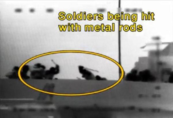 Soldados IDF siendo atacados con barras de metal por la tripulación de la  «Flotilla Humanitaria Mavi Marmara»