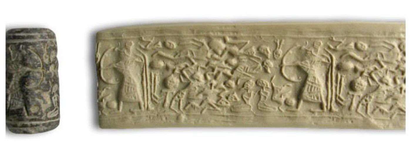 La escena muestra a Reshef apuntando su arco hacia doce enemigos en varios grados de colapso, y dos arrodillados cautivos.