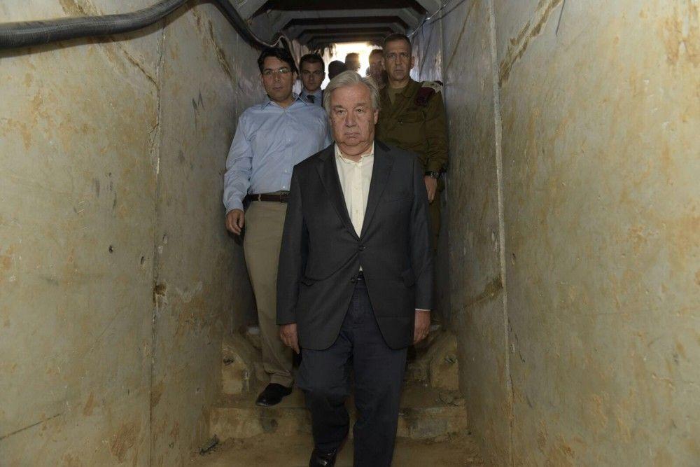 Israel lleva al secretario general de la ONU a conocer los túneles del terror de Hamás