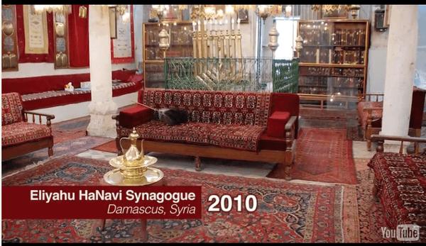 La sinagoga centenaria Eliyahu Hanavi, ubicada en las afueras de la capital de Siria, antes de su destrucción y después de su destrucción. (diarna.org)