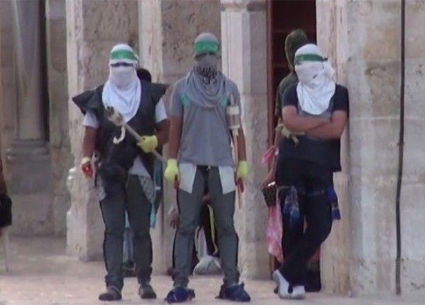 Musulmanes en el Monte del Templo con pirotecnia introducida en su mezquita supuéstamente sagrada para ellos. La pirotecnia utilizan para dispararla contra los judíos que visitan el Monte del Templo.
