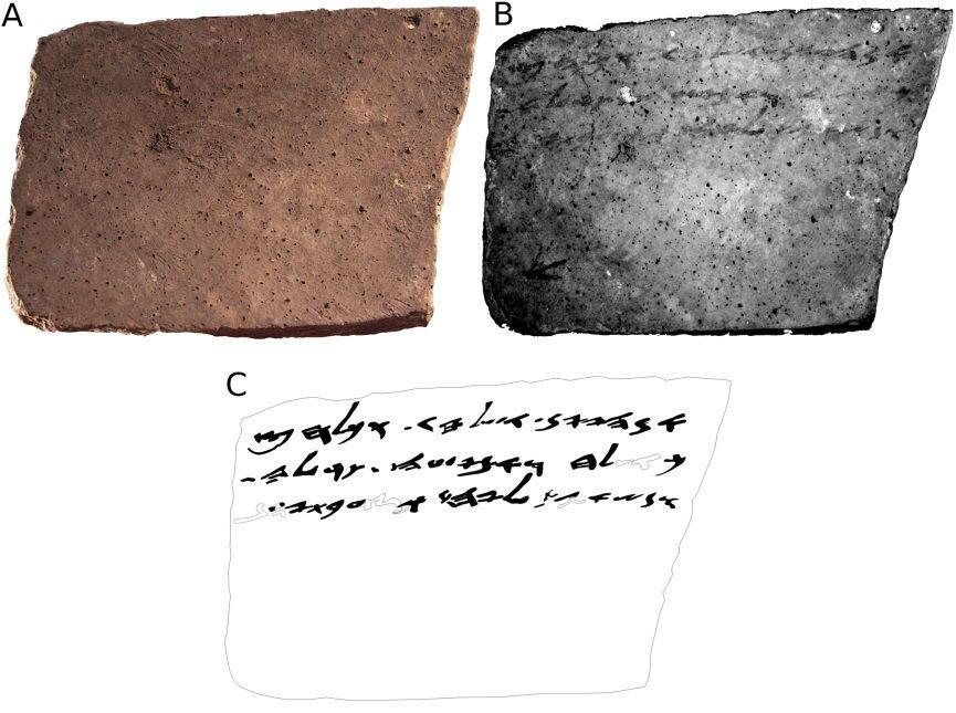 El verso de Arad Ostracon Nº 16. (A) imagen de color (RGB); (B) MS imagen correspondiente a 890 nm; (C) manual de dibujo (facsímil) de la lectura propuesta. Formas huecos representan caracteres. (Cortesía Universidad de Tel Aviv)