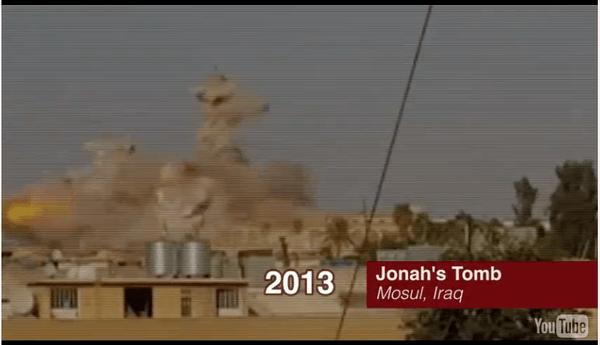 El momento en que se destruyó la tumba de Jonás, en Irak. (diarna.org)