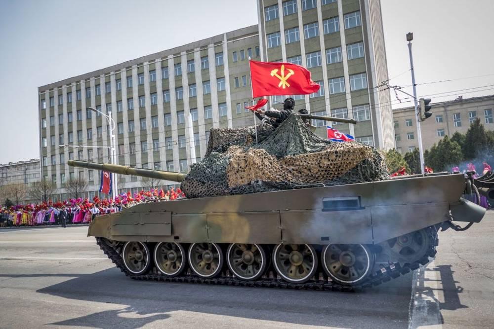 El desfile militar norcoreano Pyongyang el 15 de abril de 2017. (Moshe Shai / Flash90)