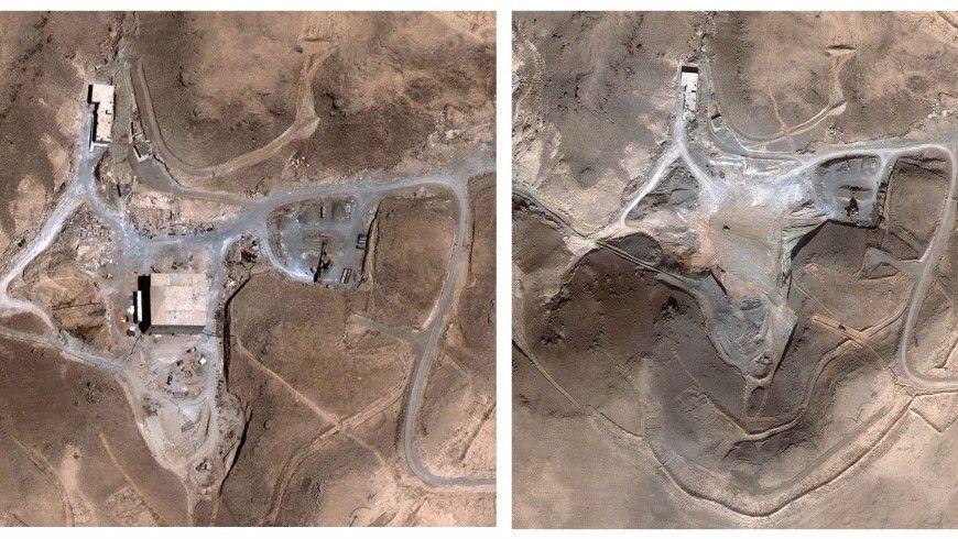 Antes y después de las imágenes satelitales del reactor nuclear sirio en al-Kibar, que según informes fue atacado por Israel en 2007 (AP / DigitalGlobe)