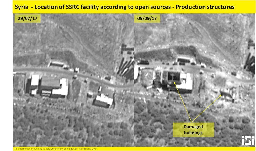 Las imágenes de satélite israelíes muestran los resultados de un ataque aéreo atribuido a las Fuerzas de Defensa de Israel en una base de desarrollo de armas militares sirias el 7 de septiembre de 2017. ( ImageSat International )