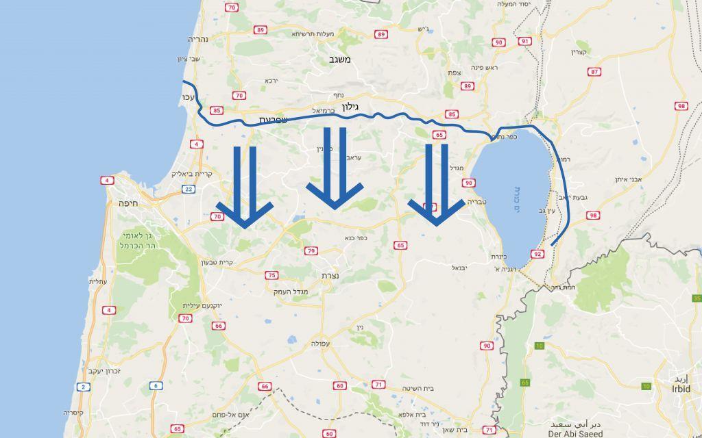 """Un mapa que muestra el tipo de ataque a gran escala del grupo terrorista de Hezbolá que el ejército simulará durante su ejercicio """"La luz del grano"""", el mayor del ejército en 20 años, el 4 de septiembre de 2017. (Fuerzas de Defensa de Israel)"""