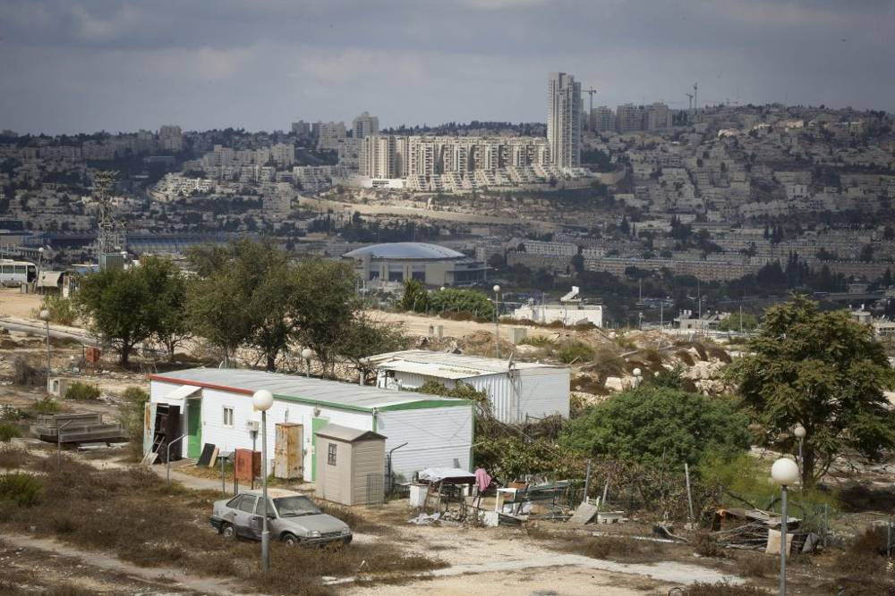 Una casa movil en Givat Hamatos, vista en 2014. (Flash 90)