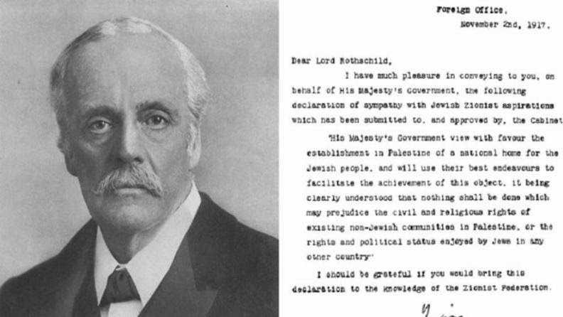 Lord Arthur Balfour y la Declaración Balfour (Commons de Wikimedia)