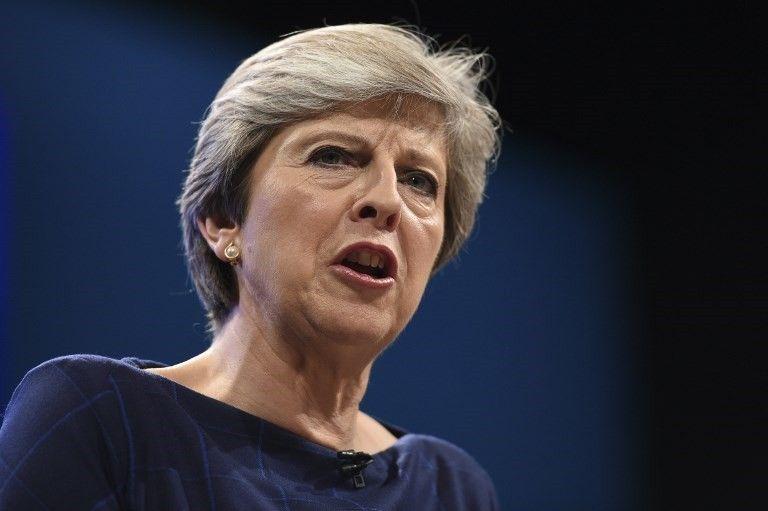 La Primera Ministra británica Theresa May pronunció su discurso en el último día de la conferencia anual del Partido Conservador en el Centro de Convenciones de Manchester en Manchester, noroeste de Inglaterra, el 4 de octubre de 2017 (AFP / Oli Scarff)