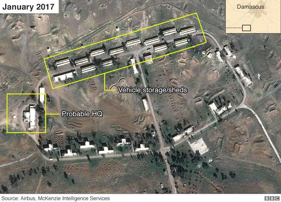 Imagen satelital de presunta base iraní en Siria de enero de 2017 (Airbus, Digital Globe y McKenzie Intelligence Services / BBC)