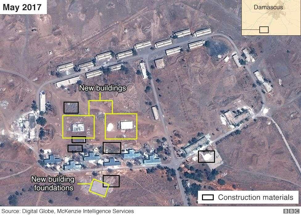 Imagen satelital de presunta base iraní en Siria desde mayo de 2017 (Airbus, Digital Globe y McKenzie Intelligence Services / BBC)