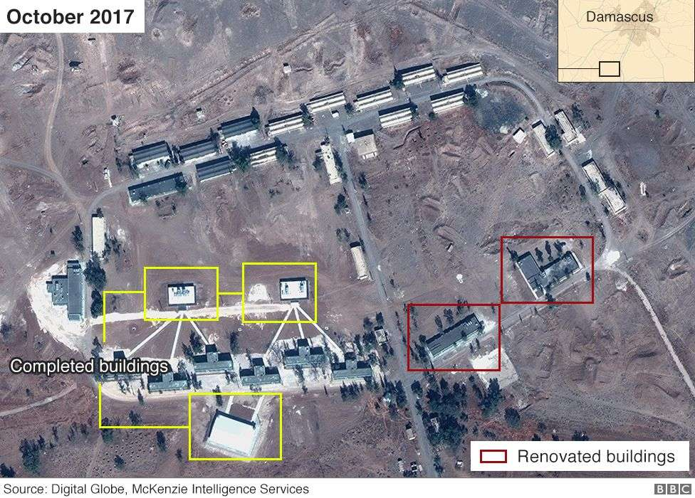 Imagen satelital de supuesta base iraní en Siria desde octubre de 2017 (Airbus, Digital Globe y McKenzie Intelligence Services / BBC)
