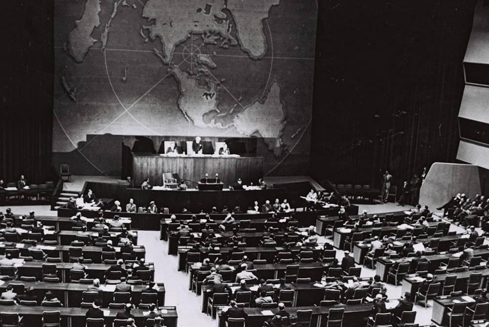 La ONU vota sobre la partición, 29 de noviembre de 1947 (Cortesía de la Oficina de Prensa del Gobierno, Jerusalém)