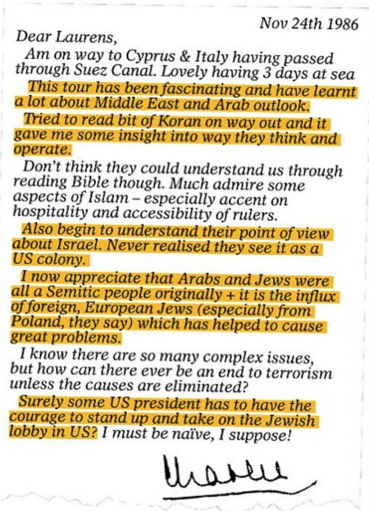 Una carta de 1986 escrita por el príncipe Carlos a su amigo Laurens van der Post. (The Mail on Sunday)