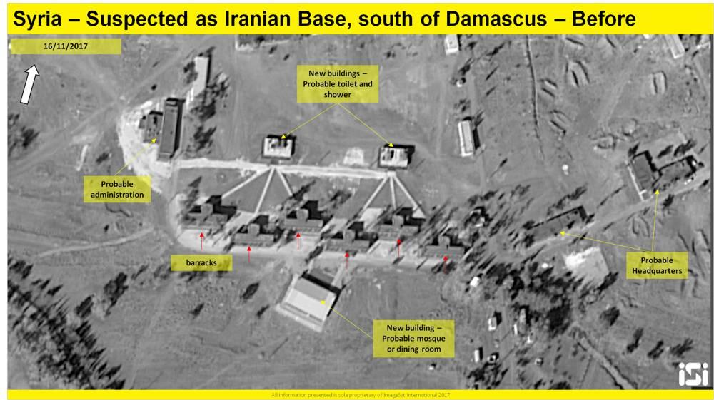 Una imagen de satélite que muestra los resultados de un supuesto ataque aéreo israelí contra una base iraní informada que se está estableciendo a las afueras de Damasco, desde el 16 de noviembre de 2017. ( ImageSat International ISI )