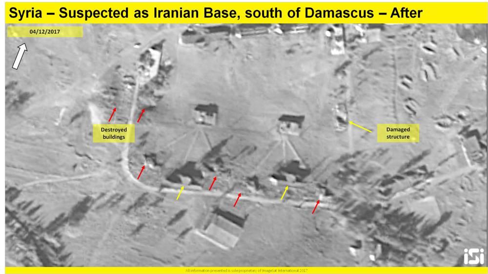 Una imagen de satélite que muestra los resultados de un presunto ataque aéreo israelí contra una base iraní informada que se está estableciendo a las afueras de Damasco, desde el 4 de diciembre de 2017. ( ImageSat International ISI )