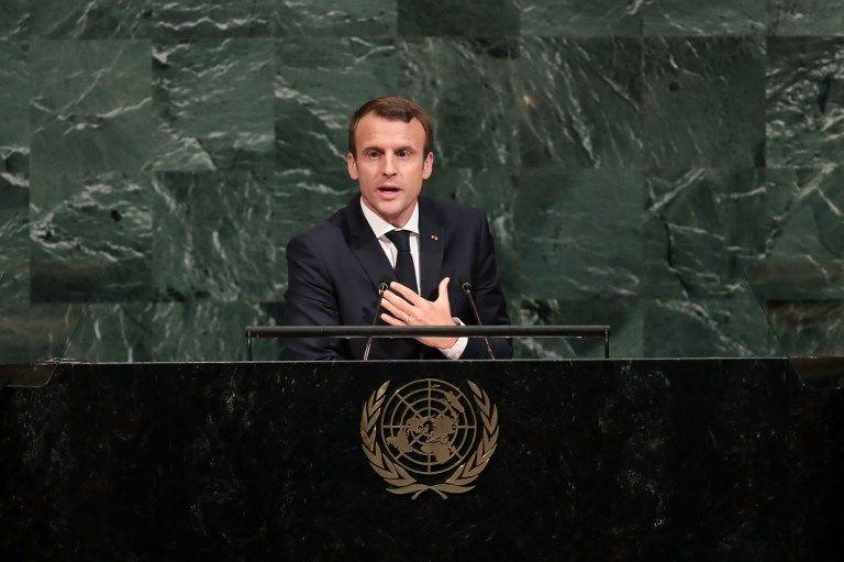 El presidente francés Emmanuel Macron se dirige a la Asamblea General de las Naciones Unidas en la sede de la ONU en Nueva York el 19 de septiembre de 2017. (Drew Angerer / Getty Images / AFP)