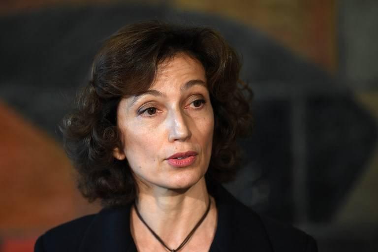 La ex ministra de Cultura francesa Audrey Azoulay observa en la sede de la UNESCO en París el 10 de noviembre de 2017 después de que los estados miembros de la UNESCO aprobaran su nominación para encabezar la agencia cultural. (AFP / Eric Feferberg)