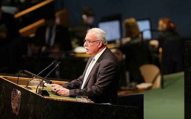 El ministro de Asuntos Exteriores palestino, Riyad al-Malki, habla en el piso de la Asamblea General de las Naciones Unidas el 21 de diciembre de 2017 en la ciudad de Nueva York. (Spencer Platt / Getty Images / AFP)