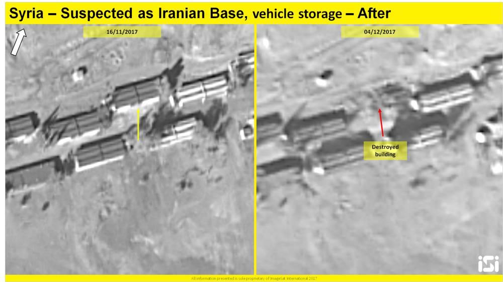 Una imagen de satélite que muestra los resultados de un presunto ataque aéreo israelí contra una base iraní informada que se está estableciendo a las afueras de Damasco, desde el 16 de noviembre de 2017 y el 4 de diciembre de 2017. ( ImageSat International ISI )