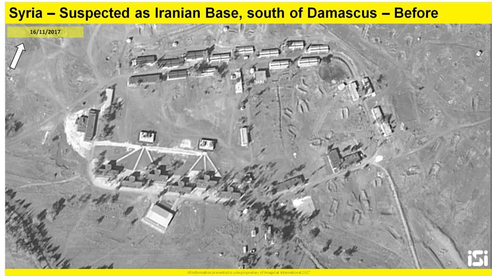 Una imagen de satélite que muestra los resultados de un presunto ataque aéreo israelí contra una base iraní informada que se está estableciendo a las afueras de Damasco, desde el 16 de noviembre de 2017. ( ImageSat International ISI )