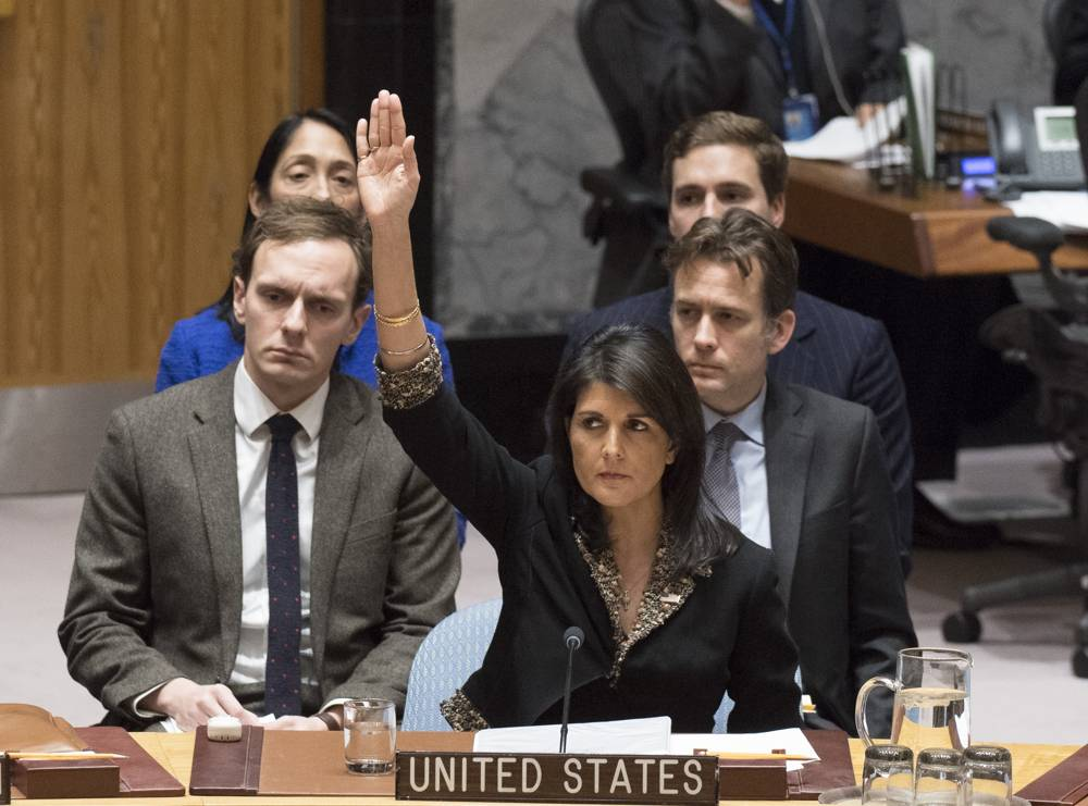 La embajadora de los Estados Unidos en la ONU, Nikki Haley, votó en contra de una resolución del Consejo de Seguridad sobre Jerusalém el 18 de diciembre de 2017. (Eskinder Debebe / ONU)