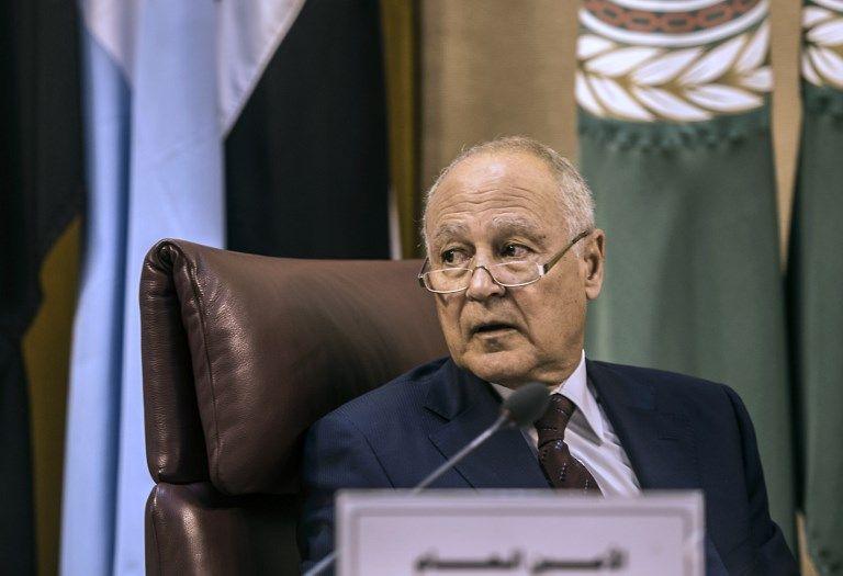 El Secretario General de la Liga Árabe, Ahmed Aboul Gheit, asiste a la reunión del Ministro de Asuntos Exteriores árabe en El Cairo para debatir los disturbios latentes en Jerusalém el 27 de julio de 2017. (AFP PHOTO / KHALED DESOUKI)