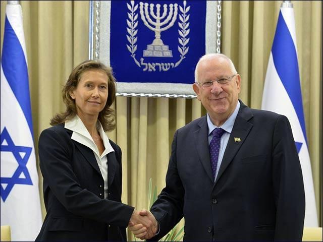 El Presidente Reuven Rivlin con la Embajadora de Eslovenia, Barbara Susnik, noviembre de 2015 (Ministerio de Asuntos Exteriores de Israel)