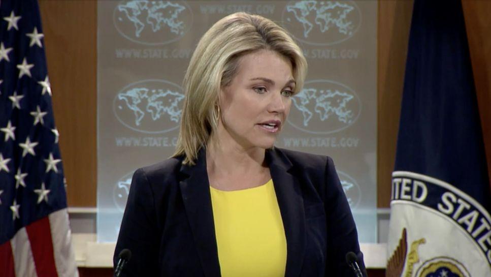 La portavoz del Departamento de Estado de Estados Unidos, Heather Nauert, habla con los periodistas durante una conferencia de prensa en Washington, DC el 27 de julio de 2017 (captura de pantalla)