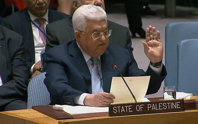 Mahmoud Abbas hablando en el Consejo de Seguridad de la ONU el 20 de febrero de 2018. (Captura de pantalla: UNTV)