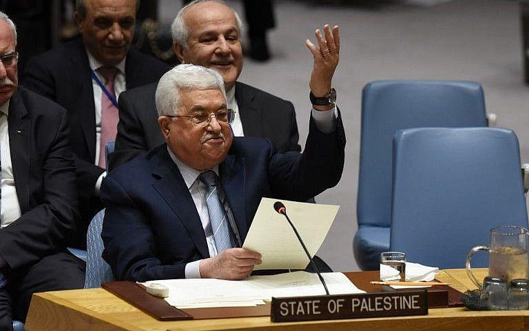 El presidente de la Autoridad Palestina, Mahmoud Abbas, habla en el Consejo de Seguridad de las Naciones Unidas el 20 de febrero de 2018. (AFP Photo / Timothy A. Clary)