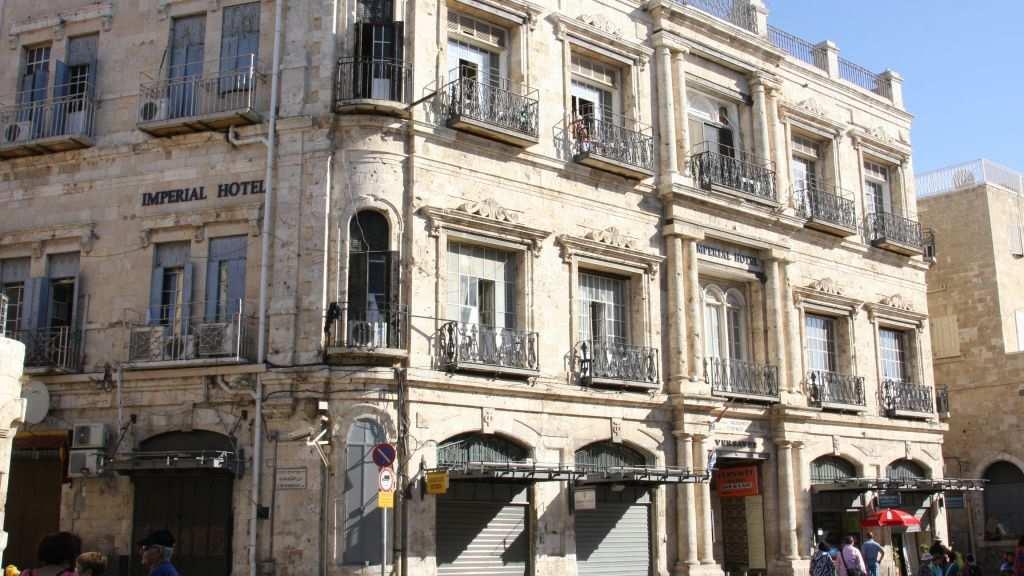 El Hotel Imperial en la Puerta de Jaffa, cuyo contrato de alquiler se vendió a la organización Ateret Cohanim y es objeto de una apelación del Patriarca Griego Ortodoxo.(Shmuel Bar-Am)