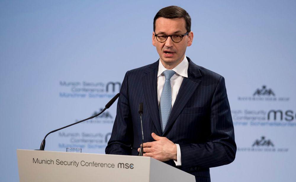 """El Primer Ministro de Polonia, Mateusz Morawiecki, en la Conferencia de Seguridad de Munich, 17 de febrero de 2018. Dijo que hubo """"perpetradores judíos, ya que hubo autores rusos, ya que hubo ucranianos"""". Crédito: Sven Hoppe / AP"""