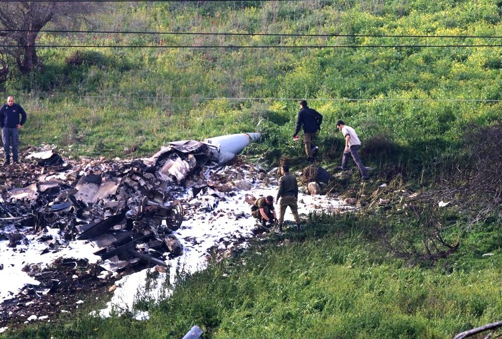 Restos del avión F-16 (Foto: Haaretz)