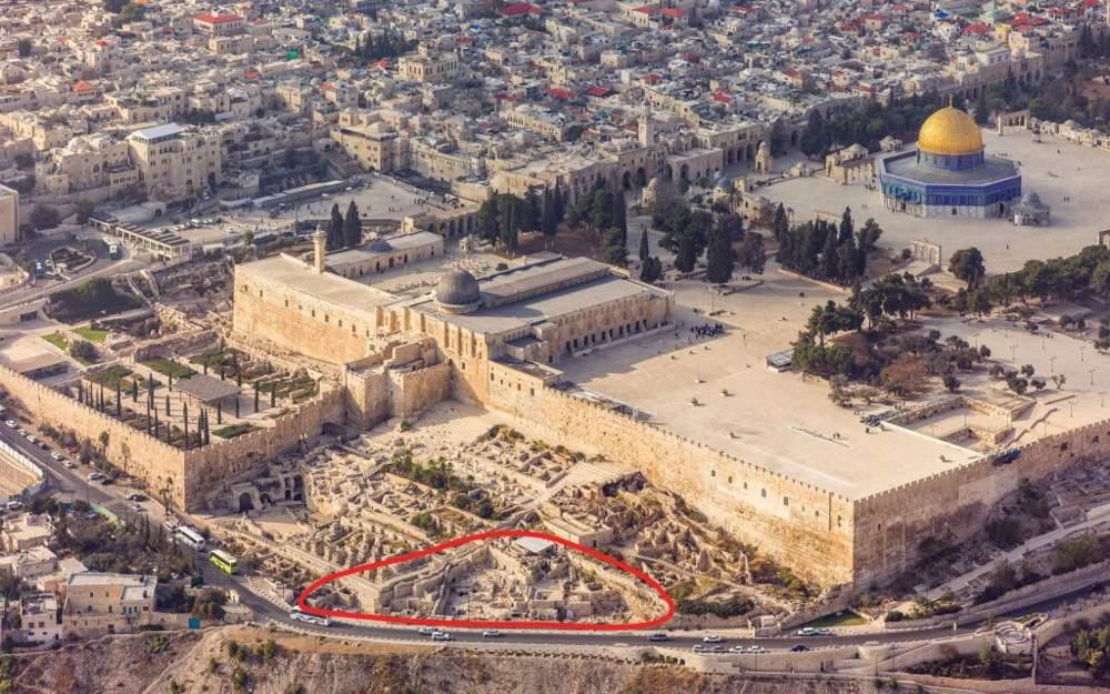 Las excavaciones de Ophel al pie de la pared sur del Monte del Templo en Jerusalem (cortesía de Andrew Shiva)
