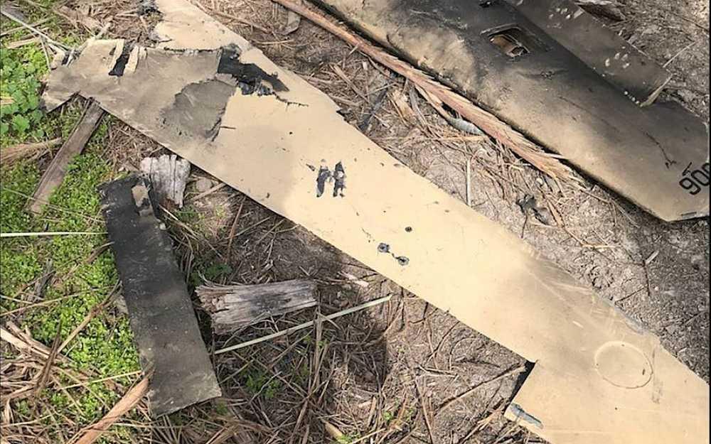 Los restos de un avión teledirigido iraní que fue derribado por la Fuerza Aérea israelí después de que penetrara en el espacio aéreo israelí el 10 de febrero de 2018. (Fuerzas de Defensa de Israel)