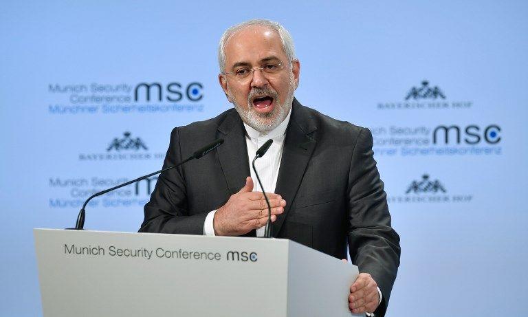El ministro de Asuntos Exteriores iraní, Mohammad Javad Zarif, pronuncia un discurso durante la Conferencia de Seguridad de Munich el 18 de febrero de 2018, en Munich, en el sur de Alemania. (AFP Photo / Thomas Kienzle)