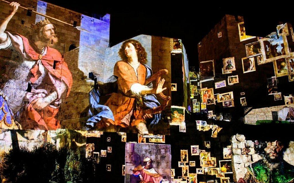 Detalles de Un recorrido virtual de las grandes obras de arte inspirado en la escena del Rey David en la Exposición Nocturna Rey David, marzo de 2018 (Naftali Hilger)