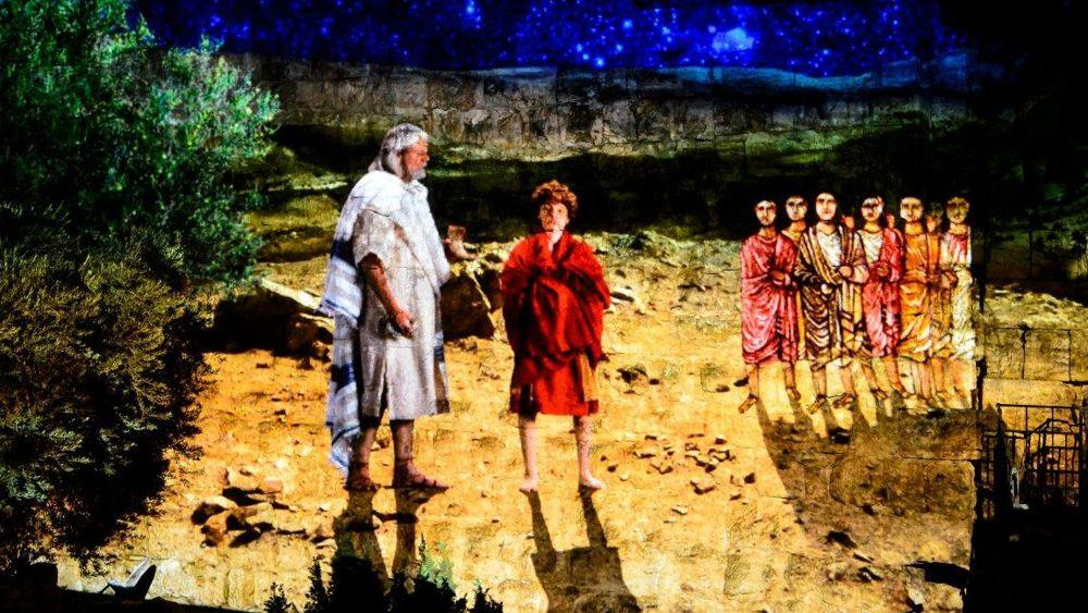 El Profeta Samuel con el joven David en la Exposición Nocturna Rey David, marzo de 2018 (Naftali Hilger)