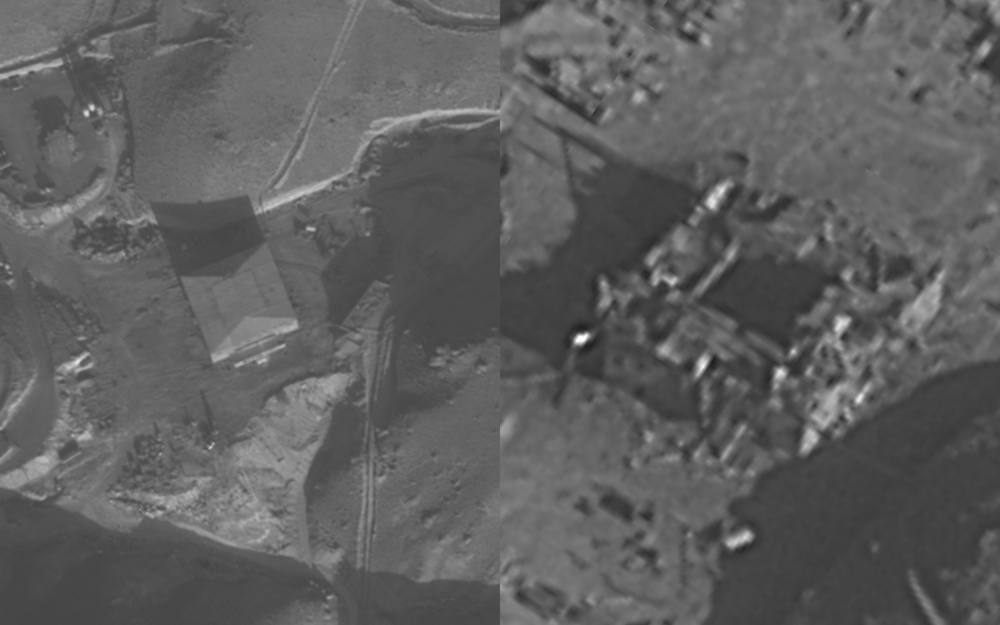 El reactor nuclear sirio al-Kibar antes, izquierda, y después, cuando fue destruido por Israel, el 6 de septiembre de 2007. (Fuerzas de Defensa de Israel)
