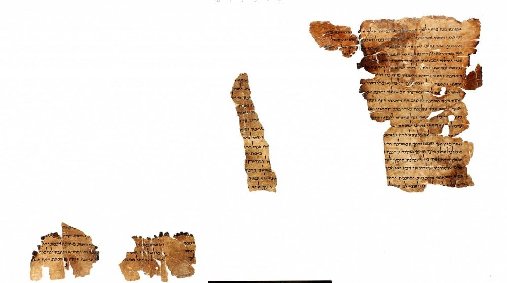 Fragmentos del rollo Musar leMevin (Instrucción para los entendidos), en exhibición en el Museo de Naturaleza y Ciencia de Denver por primera vez.(Biblioteca digital de Shai Halevi, Leon Levy Dead Sea Scrolls)