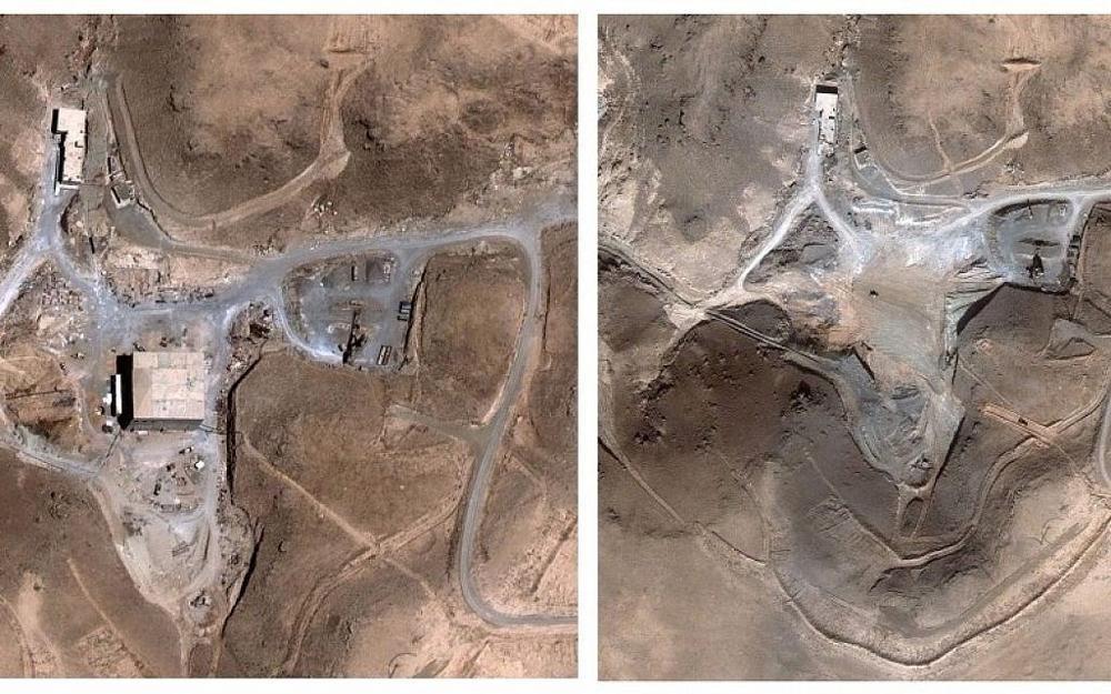 Imágenes satelitales antes y después del reactor nuclear sirio en al-Kibar, que fue alcanzado por Israel en 2007. (AP / Digital Globe)