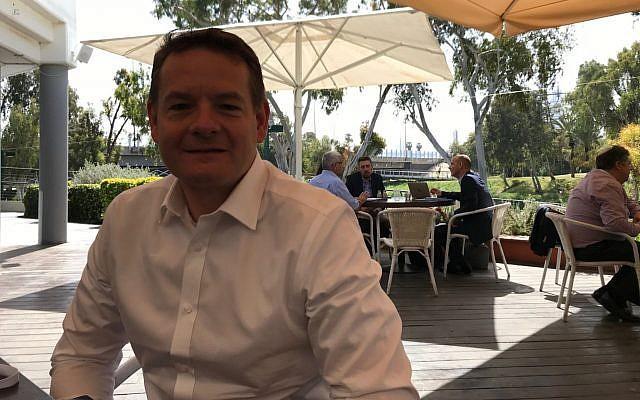 Jonathan Tudor, Director de Estrategia de Tecnología e Innovación en Centrica Innovations, en Tel Aviv, 21 de marzo de 2018 (Shoshanna Solomon / TimesofIsrael)
