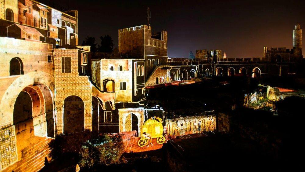 La Torre de David muestra la escena del traslado del Arca de la Alianza, marzo de 2018 (Naftali Hilger)