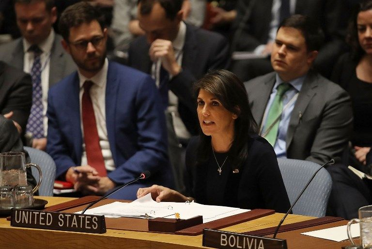 La embajadora de los Estados Unidos ante las Naciones Unidas, Nikki Haley, habla en el Consejo de Seguridad el 14 de marzo de 2018 en la sede de la ONU en la ciudad de Nueva York.(Spencer Platt / Getty Images / AFP)