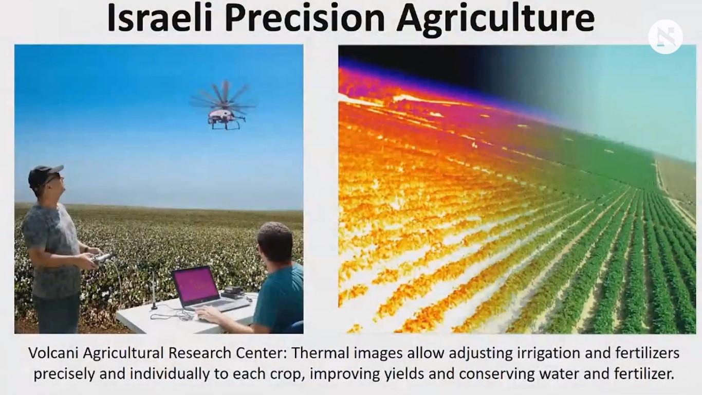 Imagen de Agricultura de precisión mostrada por Netanyahu en la conferencia AIPAC-2018 (Captura de pantalla)