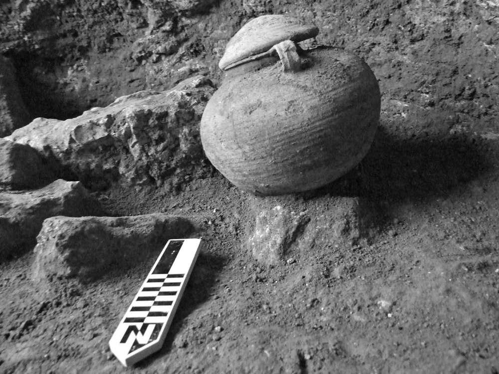 Olla romana con los restos de un legionario romano cremado, encontrado en el campamento militar romano descubierto en Legio por Tel Meguido. (Foto: Yotam Tepper)