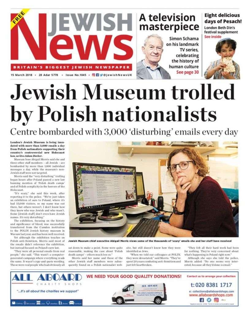 La portada del Jewish News de esta semana presenta el ataque al Museo Judío de Londres.